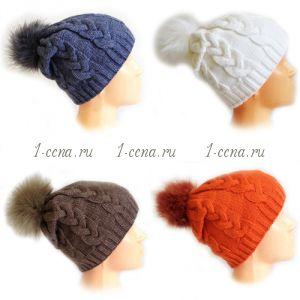 Зимняя шапка VAZKA FLIS с помпоном